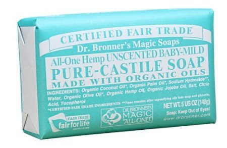 Dr. Bronner's Magic Soaps Pure-Castile Soap, All-One Unscented Baby-Mild, 5-Ounce Bars (Pack of 6) by Bobfriend