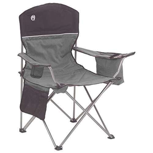 (Coleman Camp Chair with 4-Can Cooler | Folding Beach Chair with Built In Drinks Cooler | Portable Quad Chair with Armrest Cooler for Tailgating, Camping, and Outdoors)