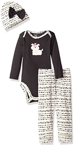 Gerber Baby Girls' 3 Piece Bodysuit, Cap, and Pant Set, Puppy, 3-6 Months