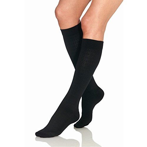 Women's 8-15 mmHg Knee High Pattern Trouser Sock Size: Medium, Color: Sand