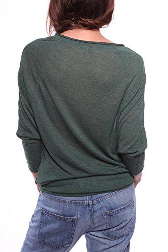 Ella Manue Damen Fledermausärmel Shirt Adrien , Größe: L, Farbe: Smaragdgrün