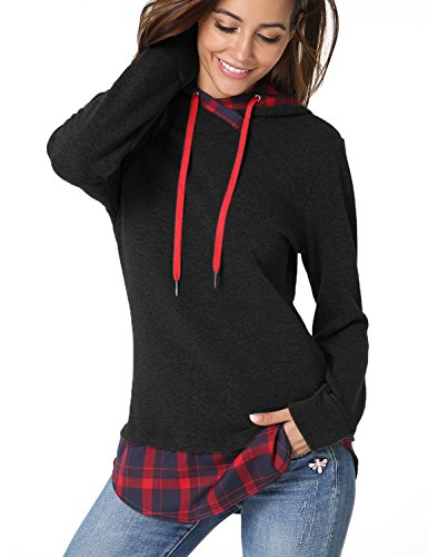 id Long Sleeve Thick Warm Fleece Tops Pullover Hoodie Sweatshirts Black M ()