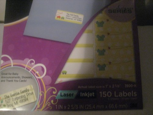 Baby Address Lables Permanent Adhesive Laser Inkjet (3 Pack) 150 Lables in Package