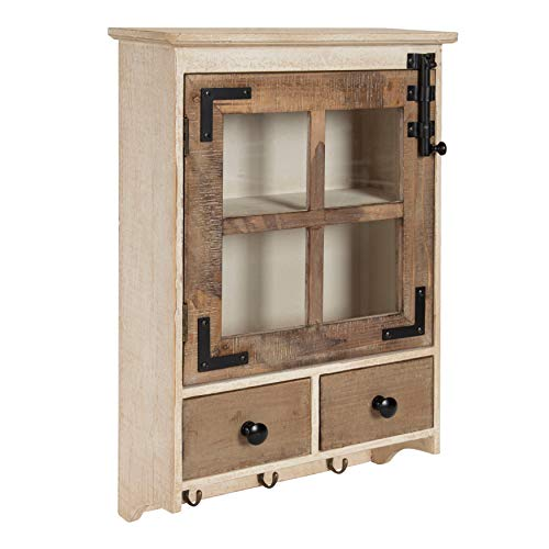 Kate and Laurel Hutchins Farmhouse Wood Wall Cabinet with Window Pane Glass Door and 2 Storage Drawers, Rustic and White-Washed Finish, 23-inches Tall x 15-inches Wide x 5.5-inches deep