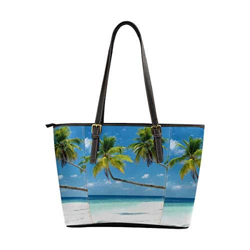 (InterestPrint Womens Handbags Ladies Purses Shoulder Bags Tote Bag Summer Tropical Beach Ocean with Palm Tree)