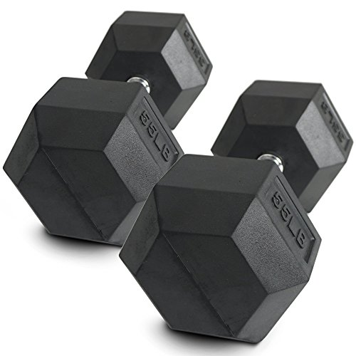 Pair 55 lb Black Rubber Coated Hex Dumbbells Weight Training Set 110 lb Fitness by Titan Fitness (Image #5)