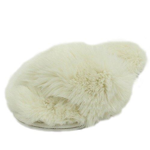 Pantofola Casa Donna Morbida Fleece Coperta Antiscivolo Casa Infradito Spa Infradito Bianco Open-toe