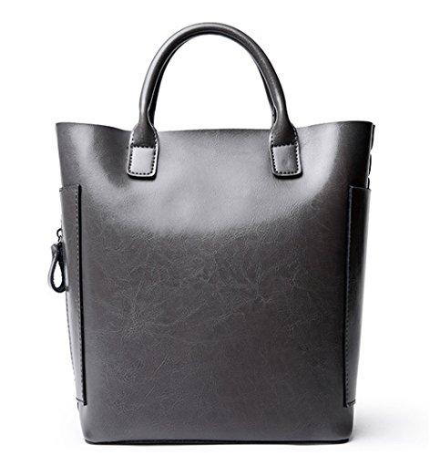 La mujer Xinmaoyuan Cubo de cuero Bolsos Bolso Wild casual simple bolsa de hombro cruzado diagonal bolso de cuero señoras bolso,Café Gris