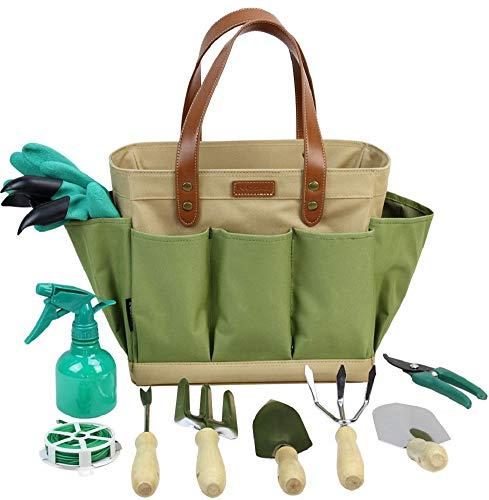 Garden Piece 10 - INNO STAGE Garden Tool Organizer Tote Bag with 10 Piece Garden Tools,Best Gardening Gift Set,Vegetable Garden Tool Kit,Gardening Hand Tools Set Bag with Garden Digging Claw Gardening Gloves