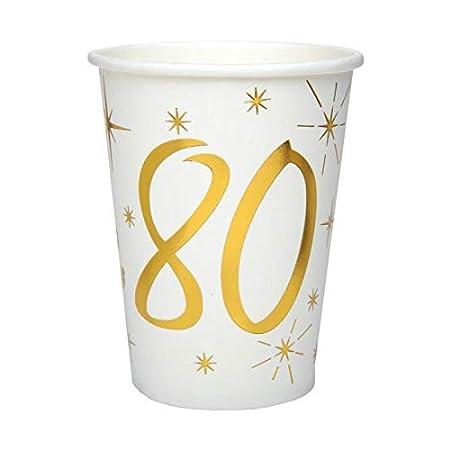 CHAL - 20 Vasos de cumpleaños de 80 años, Color Blanco y ...