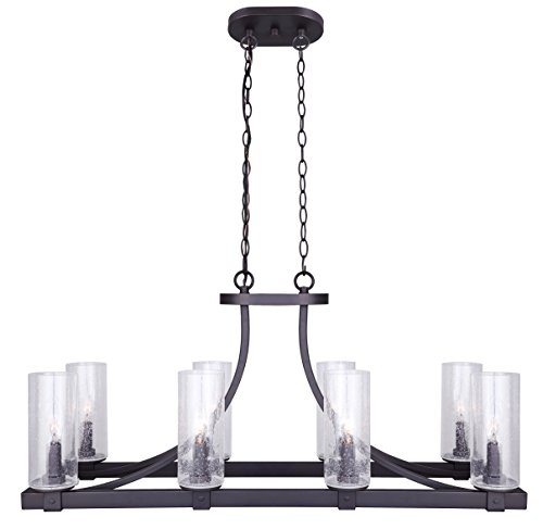 "CANARM ICH633A08ORB Nash 8 Light Chandelier With Seeded Glass, 12.5"" x 34"" x 16.5"", Oil Rubbed Bronze"