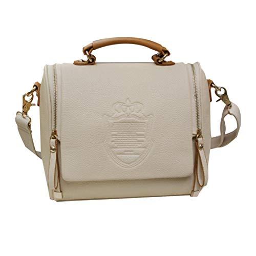femmes à en mode sac femmes sac femme Double glissière Delicacydex à Vintage à à cuir main fermeture surimpression couronne PU la bandoulière sac 4wpWq5x