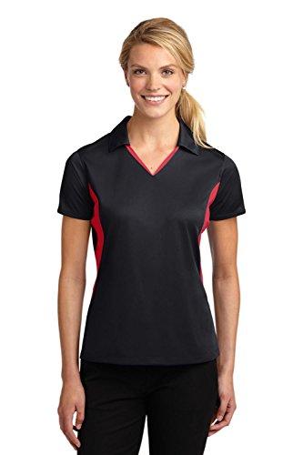 Sport-Tek Women's Side Blocked Micropique Sport Wick Polo M Black/True Red