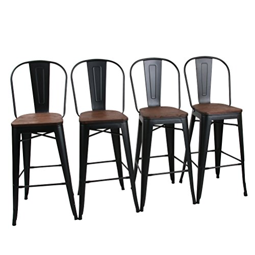 """Yongchuang Counter Bar Stools Chairs Set for Indoor-Outdoor(Pack of 4) (30"""", Matte Black Wood Top High Back) from Yongchuang"""