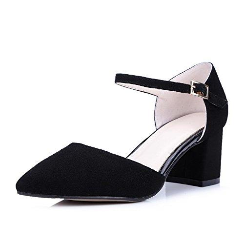 AmoonyFashion Womens Fabric Surface Solid Buckle Closed Toe Kitten-Heels Sandals Black OjnJloHJuP