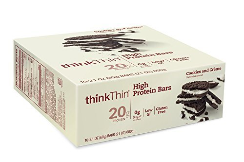 ThinkThin Cookies & Cream Bar 59 g (Pack of 10) by Think Thin ()