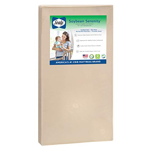 """Sealy Soybean Serenity Foam-Core Infant/Toddler Crib Mattress - Hypoallergenic Soy Foam, Extra Firm, Plastic-Free Cover with Organic Fibers, Waterproof, Allergy Barrier, 52""""x28"""""""