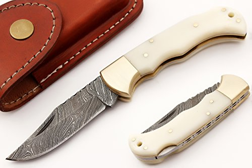 FN-9004, Custom Handmade Damascus Steel 6.5 Inches Folding Knife – Beautiful white Camel Bone Handle with Brass Bolster