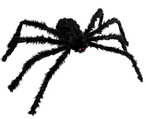 Giant Posable Black Widow Spider Halloween Prop LED Eyes, 30 Inch -