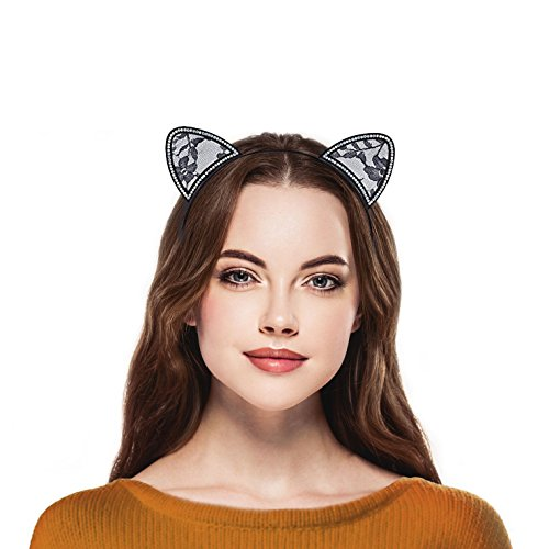 (Lux Accessories Black Lace Cat Ear Crystal Halloween Costume Accessory)