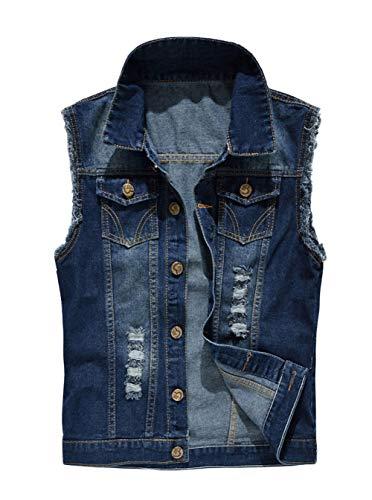 INVACHI Men's Casual Slim Fit Denim Vest Vintage Sleeveless Jeans Vest Jacket Blue Small ()