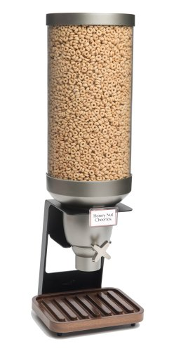 Rosseto EZ530 EZ-SERV Single Container XL Table-Top Cereal Dispenser with Walnut Tray, 3.5-Gallon Capacity, 9-1/4