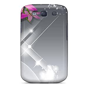 GDETqwO507 Case Cover Protector For Galaxy S3 Pink Lilies Silk Case