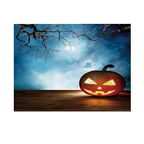 Halloween Photography Background,Traditional Celebration Icon Pumpkin on Wooden Board Fantasy Midnight Sky Trees Backdrop for Studio,10x6ft