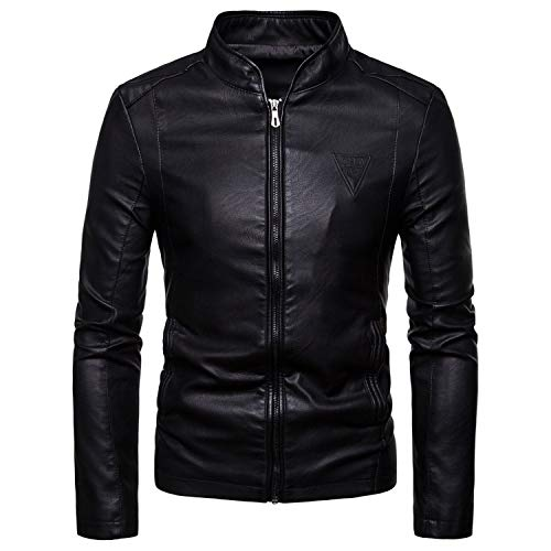 Soluo Men's Stand Collar Leather Jacket Motorcycle Lightweight Faux Leather Outwear Overcoat