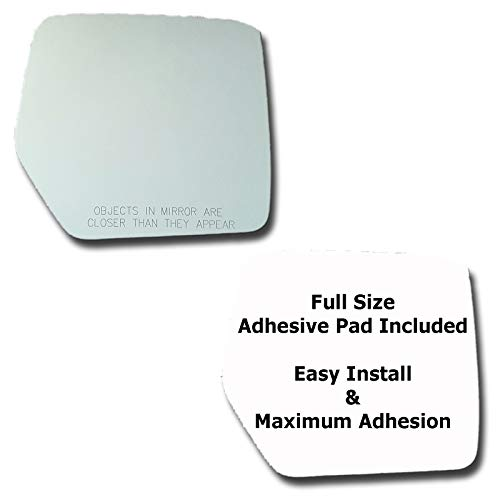 Mirror Glass + Full Size Adhesive Pad for 2008-2012 Jeep Liberty Passenger Side Replacement