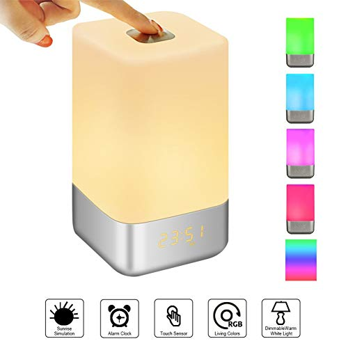 Night Light Kekailu, LED Table Lamp Night Light Time Display Rechargeable Desktop Touch Alarm Clock
