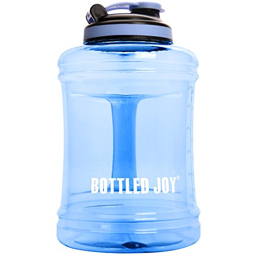 BOTTLED JOY 2.5L Water Jug with Handle, BPA Free Reusable Gym Sports Drinking Large Capacity Water Bottle Container 85oz 2500ml (Transparent Blue)