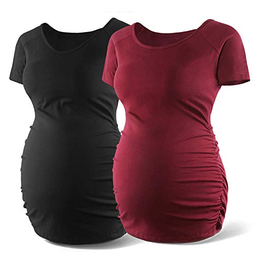 Women's Stretchy Short Sleeve Ruched Maternity Shirts Pregnancy T Shirt Top Mamma Casual Clothes Tee Mom Gift,Black/Wine Red XL