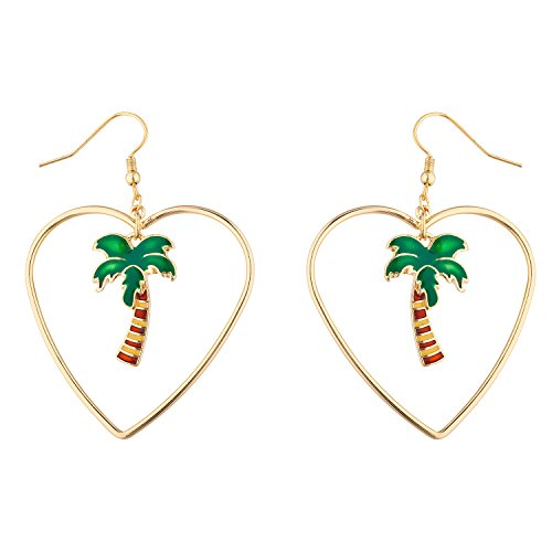 (Lux Accessories GoldTone Tropical Palm Tree Heart cut out Summer Dangle Earring )