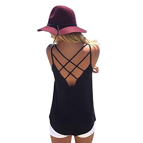 Hem Bandeau (FarJing Hot sale Fashion Sexy Womens U Neck Lace Trim Racerback Tank Tops Hollow Out Sport Vest (S, wBlack))