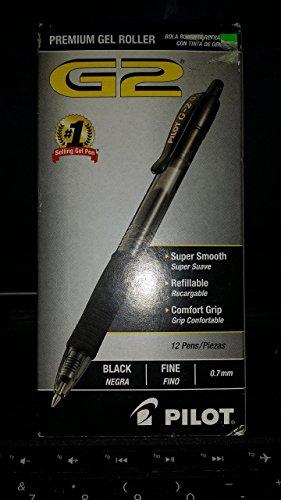 Pilot G2 Premium Retractable Gel Ink Pen, Refillable, Black Ink.7mm, Dozen
