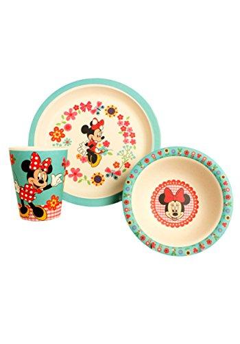 Disney Minnie Flowers Bamboo Dinnerware Set, Multicolor, 3-Piece]()