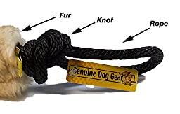 Dog Toy -Best Fur Sheepskin Tug with 2 Ropes. Play Treat Motivate Reward (We Pick Color)