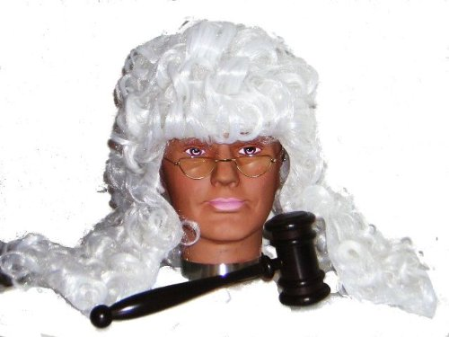 Judge Fancy Dress Costume Wig, Glasses & Gavel Kit (Judge Robes Costume)