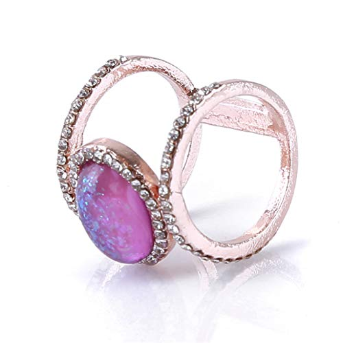 (KISSFRIDAY Purple Irregular Natural Stone Rhinestone Stacking Double Lines Finger Lever Ring(No.9))