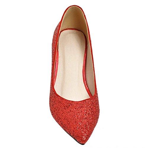 Escarpins Brillant Confortable Rouge Femme Chaussure Pointu Chaussure Bout AIYOUMEI Bloc Talon pP7aq