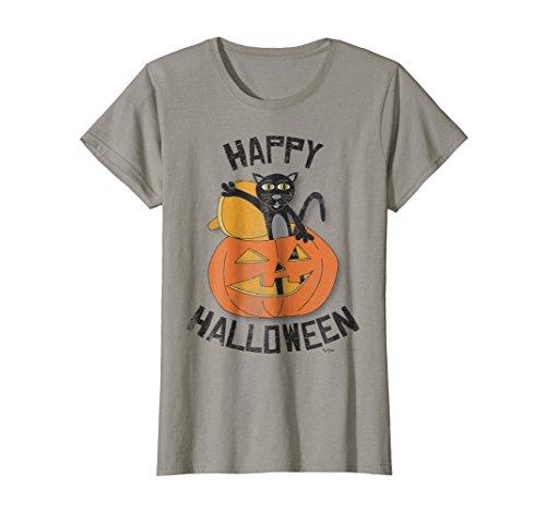 Womens Cat in Pumpkin Happy Halloween Themed T Shirt Women Men Kids Small Slate