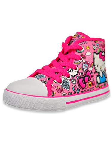 Hello Kitty Lil Avery Lace Up Fashion Sneaker with Embroidered Logo 6 Pink (Hello Kitty Sneakers For Girls)