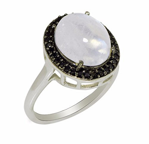 Shine Jewel oval moonstone around spinel ring
