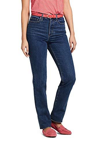 Lands' End Women's High Rise Straight Leg Jeans, 4 30, Blue Vista Indigo (End Tall Lands Jeans)