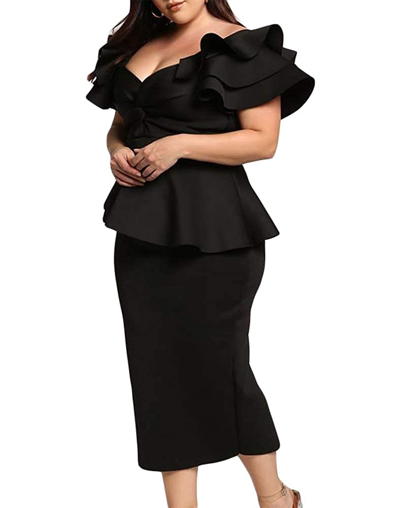 5ffb2b0d2693 Lalagen Womens Plus Size Ruffle Sleeve Peplum Cocktail Party Pencil Midi  Dress at Amazon Women's Clothing store: