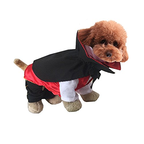 Hemiks Elf Pet Dog Cat Christmas Xmas Costume Santa Pet Apparel Three Dimensional Winter Clothes (L, Halloween (Cat Vampire Halloween)