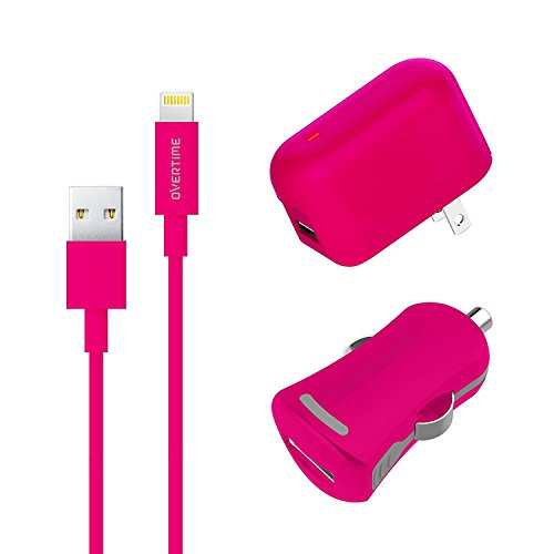 dapter and Lightning Cable with Car Charger - 2.4 Amp Dual Charger Kit with Rapid Charge Apple Lightning to USB Cable for iPhone iPad iPod - Smart Device Multi-Charger - Pink (Usb Cable Car Home Charger)
