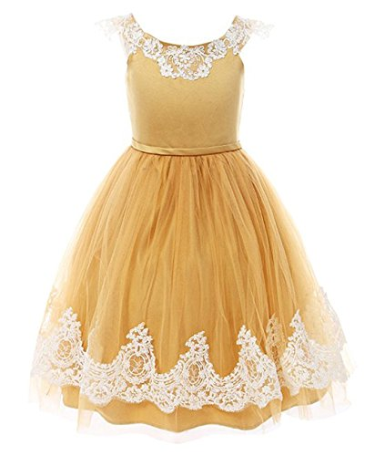 Funtrees Girls Dresses Pageant Lace Straps A Line Flower Girl Dress Size 8-9 Yellow