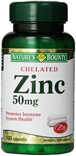 Nature's Bounty Chelated Zinc (Zinc Gluconate) 50mg, 100 Caplets (Pack of 4)
